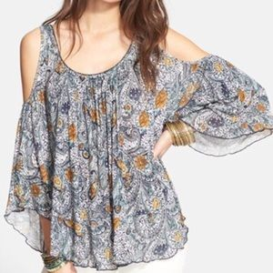 Free People Cold Shoulder Paisley Floral Top